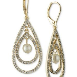 Gold-Tone Imitation Pearl & Pavé Orbital Drop Earr